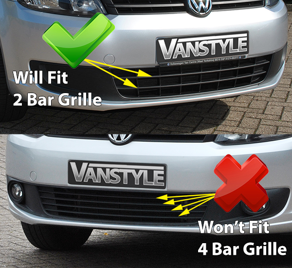 VW Caddy & Maxi 10-15 Mesh Lower Grille Polished/Black - 2 Bar